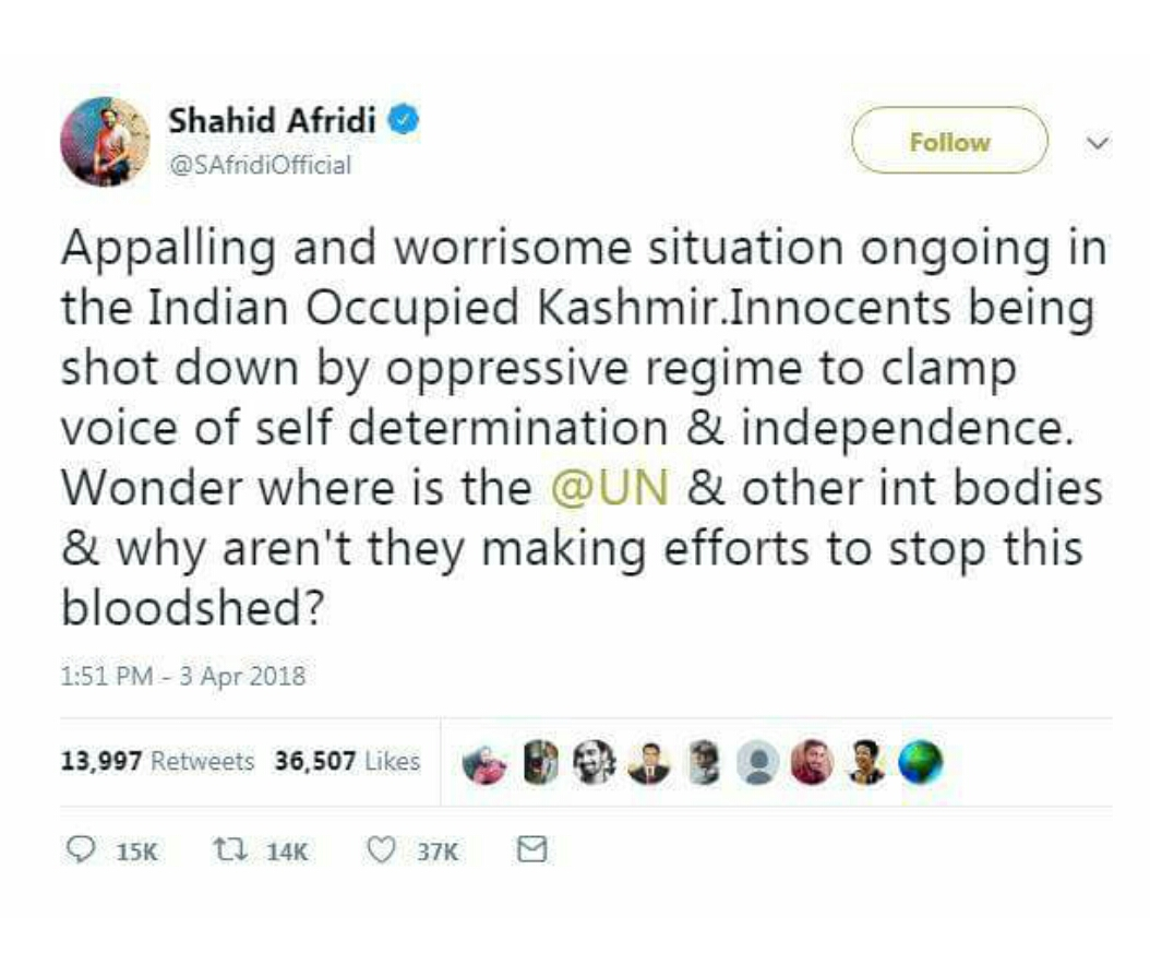 shahid afridi tweets on salmaan khan
